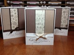 Handmade Christmas cards .... panels of patterned paper in browns ... good use of leftover  cardstock ...