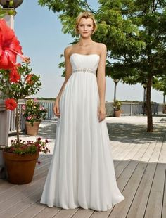 (NO.004307)Empire Sweetheart Sweep / Brush Train Sleeveless Chiffon Beach Wedding Dress For Brides