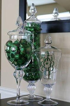 St. Patrick's Day apothecary jars