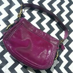 Coach Patent  Shoulder Bag Gorgeous bag by Coach. Rich wine color in patent leather. Zip closure. Coach Bags Shoulder Bags