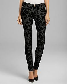 7 For All Mankind Jeans - The Skinny in Floral Flocked Denim | Bloomingdale's
