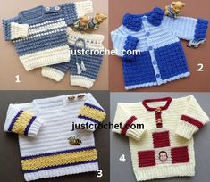 Free boys sweater baby crochet patterns http://crochetncreate.com/boys-sweaters-free-baby-crochet-patterns/ #crochetncreate #crochet #freecrochetpatterns