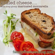 Gourmet Grilled Cheese Recipe: Marinated Mozzarella & Tomatoes on FamilyFreshCooking.com ©Marla Meridith Photography
