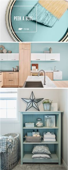 There's no limit to the number of different ways that you can use BEHR's Color of the Month: Peek A Blue. This chic blue hue pairs perfectly with white, gray, tan, and greige accent colors to create a stylish interior design that you can customize to fit your home. Click here for tons of easy design inspiration.