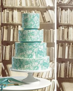 This cake gets its marbleized look from  aqua-tinted white chocolate