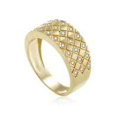 Anel de Ouro Amarelo 18k 13,5 pontos de diamantes - Coleção Honey