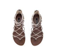 Pewter Metallic Flat Sandals.
