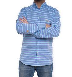 Camisa con estampado de rayas horizontales en tonos azules, de la firma Frog & Co.