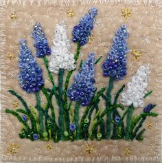 hyacinths ... this link has beautiful stitch work.