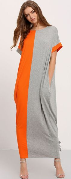 Color Block Pockets Maxi Dress. Two colors available.