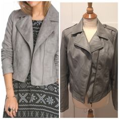 Bernardo faux leather Moto jacket, M Cool Moto style jacket in gray! On trend and very realistic looking leather. Fully lined, front zipper pockets. High quality Bernardo brand. Size M Bernardo Jackets & Coats