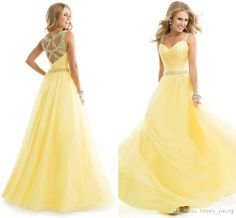 Dreamy Spaghetti Straps Beaded Yellow Chiffon A Line Floor Length Long Backless Beads Brand Party Evening Gowns Prom Dresses 2014 Fashion