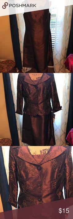 NWT Dorby chocolate brown 2 piece dress. Size 12 NWT dress. Wonderful chocolate brown. Tank dress with matching jacket. dorby Dresses