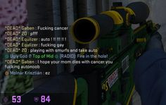The response you get for using an auto sniper in Counter Strike Global Offensive (CSGO)