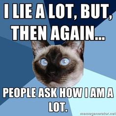 "chronic-illness-cat: ""from the amazing Bobcat [picture of a cross-eyed Siamese cat's head against a gyronny (a triangle-sectioned background) with six shades of blue. Top line of text reads: I lie a..."
