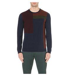 TED BAKER Colour-block merino jumper (Dark blue