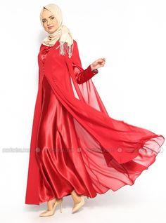Abiye Elbise - Kırmızı - Garben
