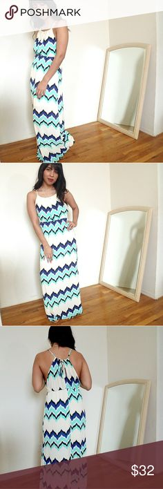 ❕FLASH SALE❕CREAM CHEVRON PRINT MAXI DRESS GORGEOUS dress! Totally bought one for myself lol. This beauty is so flattering with its colorful chevron print. The stretchy waistline. Pleated neckline with a halter style. Ties in the back with keyhole. Semi lined skirt. Fits TTS!   ☞Sizes available: S M l ☞MODELING SIZE MEDIUM  🍃IG: @JMAYORGA91    ❌PRICE FIRM❌ Dresses Maxi