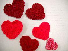 Six Heart Appliques Crochet Embellishments Heart by StitchKnit, $3.00