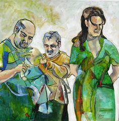 "Schilderij Ping Frederiks, ""The big letting go"" 100x100 cm. acryl op doek"