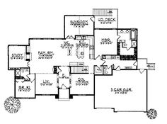 Home Plans HOMEPW01483 - 2,585 Square Feet, 2 Bedroom 2 Bathroom Mediterranean Home with 3 Garage Bays