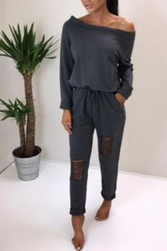 1cf09bbb7e Shop Trendy Ripped Skew Neck Tied Waist Casual Jumpsuit – Discover sexy women  fashion at Boutiquefeel