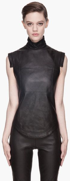 Black Buffed Leather Blouse - Lyst