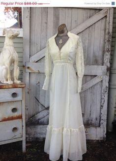 Sale 1970s ivory maxi dress 70s bohemian cotton by melsvanity