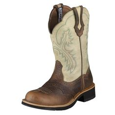 Show baby Ariat Women's Show Distressed Cowgirl Boot Round Toe Earth 5.5 M US