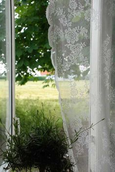 The Beautiful Life: Jeanne d'Arc Living 2010 Issue And A New Jeanne d'Arc… Window View, Open Window, Cottage Windows, Looking Out The Window, Lace Curtains, Country Curtains, White Cottage, Foto Art, Through The Window
