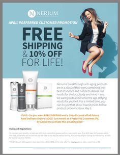 New customers get this great deal!! www.clhopkins85.nerium.com