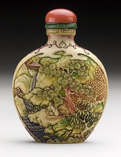Snuff Bottle (Biyanhu) with Landscape Reserves, China, early 20th century, Carved ivory with polychrome tinted decoration, carved bone stopper: