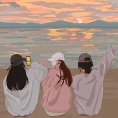 Cartoon Girl Images, Cartoon Girl Drawing, Cartoon Art Styles, Girl Cartoon, Friends Illustration, Japon Illustration, Anime Scenery Wallpaper, Cute Couple Wallpaper, Anime Couples Drawings