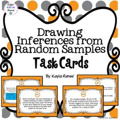 Get this in my GROWING bundle!!7th Grade MATH Task Cards Growing Bundle Task Cards will cover the following: drawing inferences using simulated data making predictions based off of sample data conducting random samples and drawing inferences estimating sample proportions and more!Things to know about these task cards:-Students will need a textbook to conduct a random sample. (see preview - task card #2)-For task card #10, students will be asked to conduct their own random sampling…