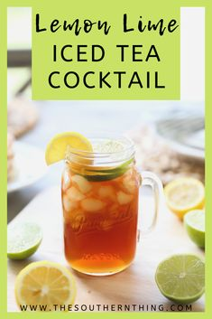 Lemon Lime Iced Tea Cocktail - The Southern Thing Iced Tea Cocktails, Non Alcoholic Drinks, Beverages, Korean Street Food, Korean Food, Lime Cocktail Recipes, Korean Dessert, Vegetarian Lifestyle, Juicing For Health