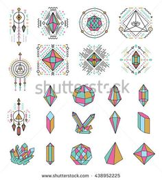 Collection of Geometric Crystal Icons and Symbols