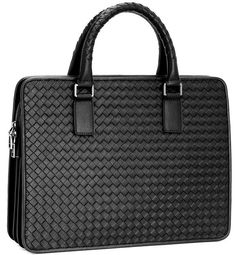Top Grade Mens Briefcase Handmade Weave Pattern Leather Business 14