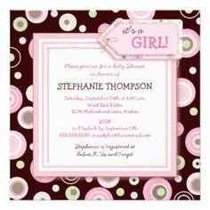 Happy Pink Dots Girl Baby Shower Invitation zazzle_invitation