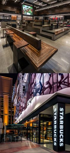 This Starbucks store sits in the heart of the Las Vegas Strip. It features grandstand seating, inspired by the terraces found in many coffee-growing landscapes. The warm color palette compliments the natural architectural elements which combines walnut wood, black steel, concrete and glass.