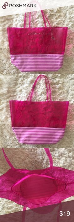 """VCTORIAS SECRET TOTE VICTORIAS SECRET tote/ beach bag.  Upper portion is plastic bottom shimmering material.  Length-15.5"""", width-21"""", depth-6"""".  Gently used, good condition ( some scuffs on plastic part from use), pet/smoke free home Victoria's Secret Bags Totes"""
