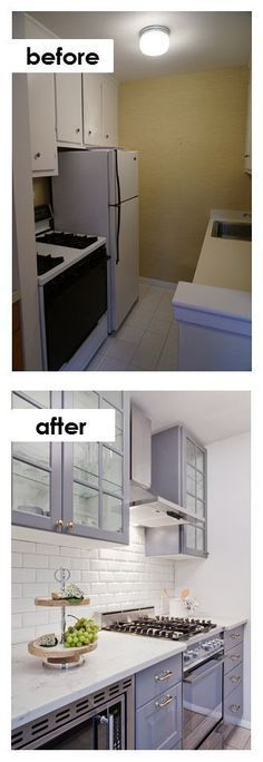 Tiny apartment kitchen remodel ideas - before and after DIY makeovers pictures and ideas when on a budget.
