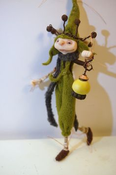 moss green LIGHT BEARER elf pixie fairy 67 ooak poseable