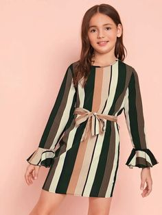 To find out about the Girls Self Belted Flounce Sleeve Striped Dress at SHEIN IN, part of our latestGirls Dresses ready to shop online today! Preteen Girls Fashion, Kids Outfits Girls, Dresses Kids Girl, Cute Girl Outfits, Girls Fashion Clothes, Cute Outfits For Kids, Teen Fashion Outfits, Cute Casual Outfits, Cute Dresses