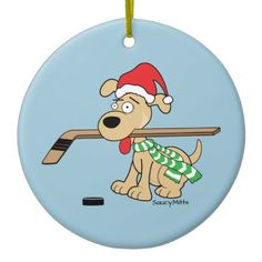 Hockey Dog Christmas Ornament