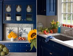 Blue kitchen cabinets.  Maybe (okay, definitely) I'm just tired of/bored with the plain white cabinets that are an apartment staple.