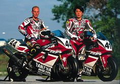 "The Dream Team - Yamaha WSBK Team Russell and ""Nitro"" Noriyuki Haga aboard the Yamaha World Superbike. Street Motorcycles, Yamaha Motorcycles, Yamaha Yzf, Racing Team, Road Racing, Dirtbikes, Motorcycle Bike, Super Bikes, Dream Team"