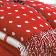 Foxford Red Spot Lambswool Blanket