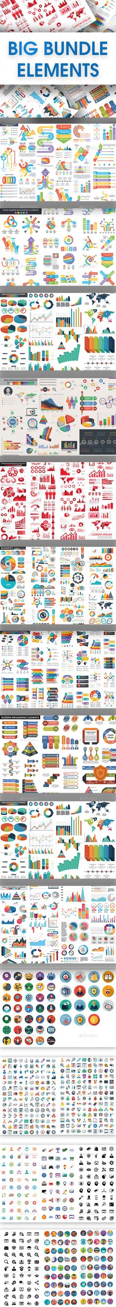 Big Bundle Elements Template PSD, Vector EPS, AI Illustrator - 580 Icons Included