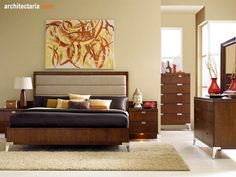 retro-style-bedroom.jpg 500×375 pixels  like the wood tone and dresser design