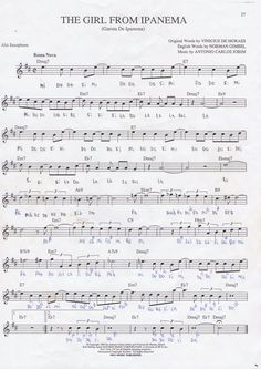 Girl from Ipanema Alto Sax Sheet Music, Violin Sheet Music, Piano Music, Accordion Sheet Music, Saxophone Music, Jazz Songs, Easy Guitar Songs, Recorder Music, Music Score